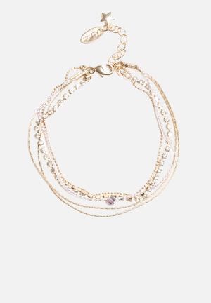 Cupchain & Plait Multi Row Bracelets