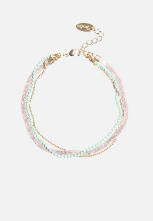 Coated Slinky Multi Row Bracelet