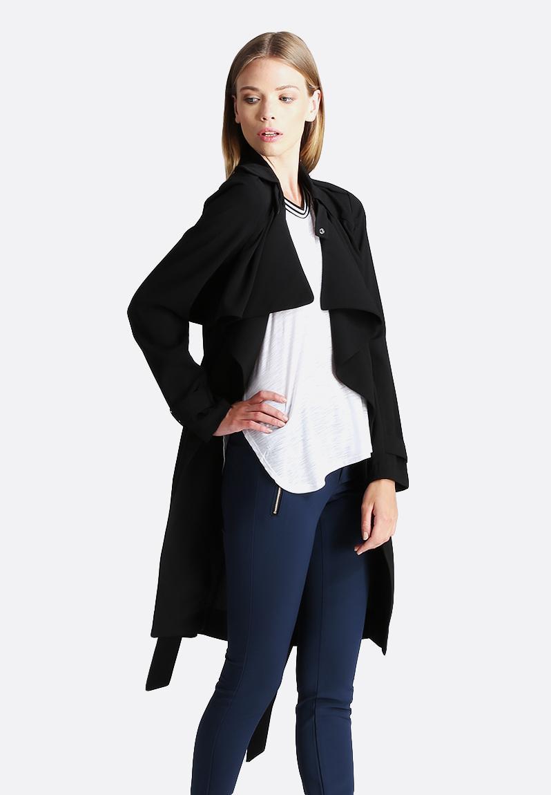 fame 3 4 trenchcoat black vero moda jackets. Black Bedroom Furniture Sets. Home Design Ideas