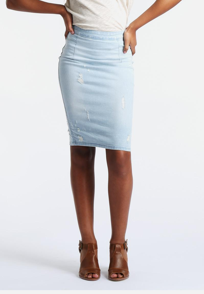 destroy hw pencil skirt light blue denim vero moda