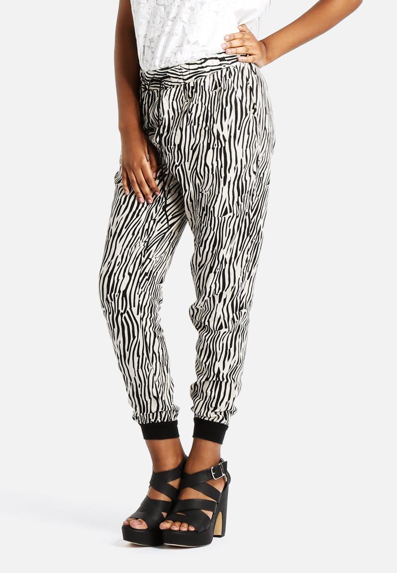 Just Easy Nw Rib String Linen Pants Oatmeal Zebra Print
