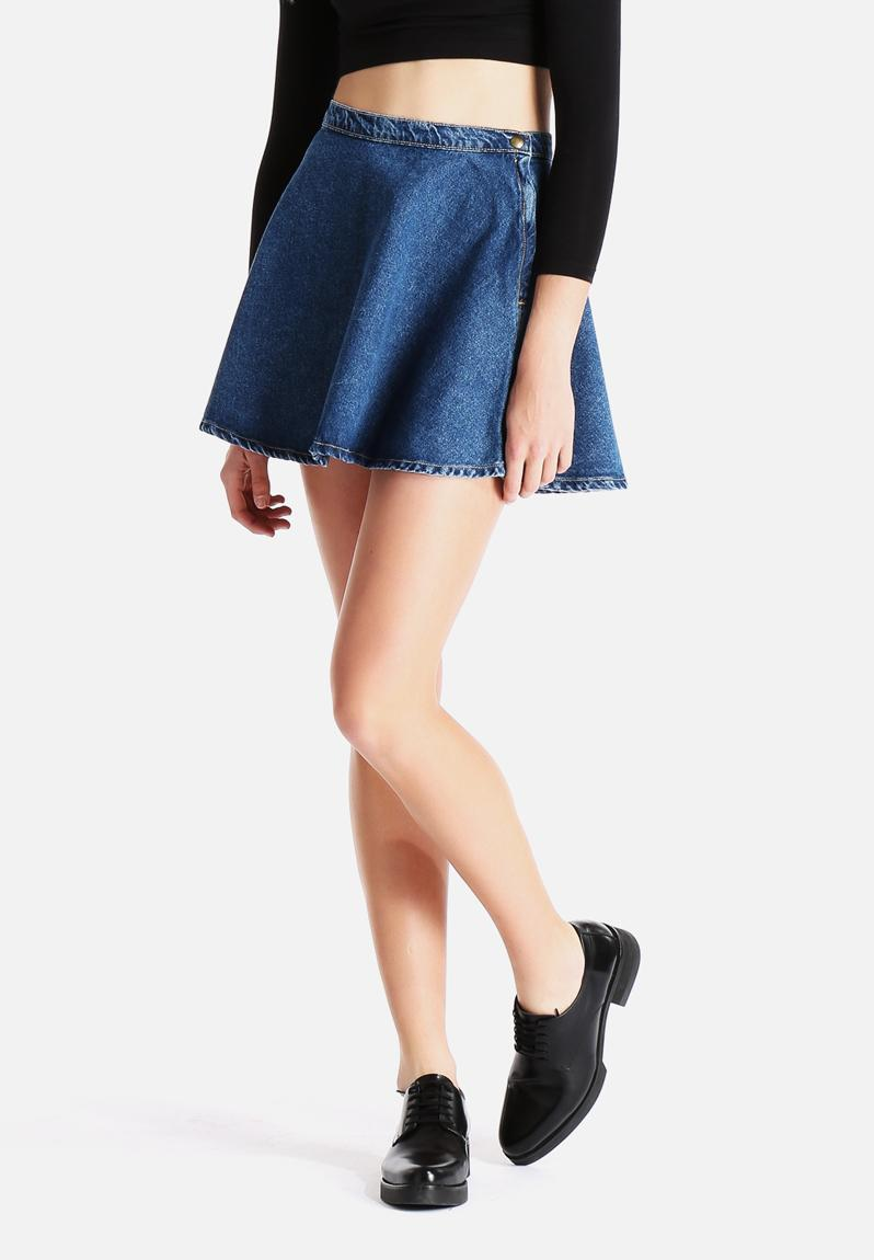 denim circle skirt wash indigo american apparel