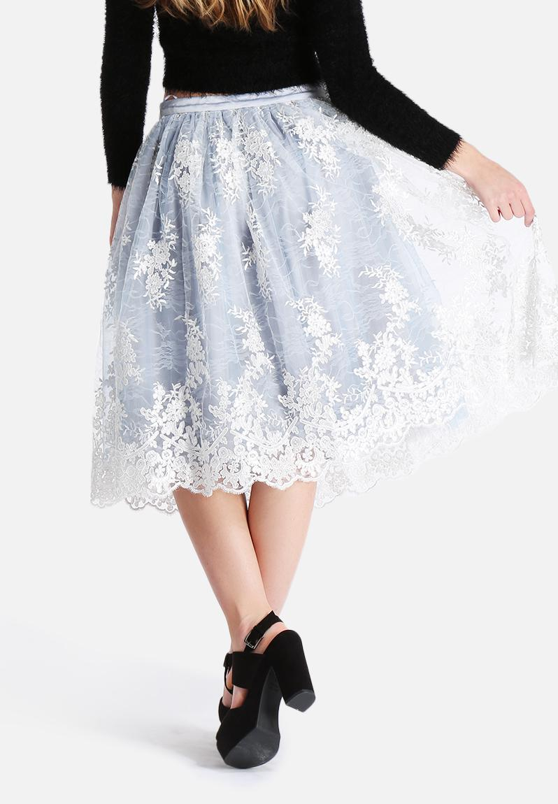 Elegant Boohoo Womens Orla Lace Overlay Midi Skirt  EBay