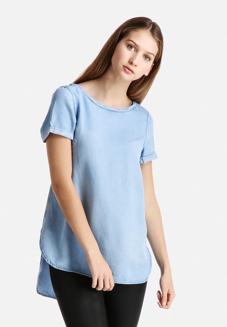 Denim Longline Tee New Look Shirts Superbalist Com