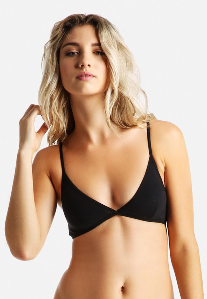 Cotton Spandex Jersey Cross Back Bra Black American