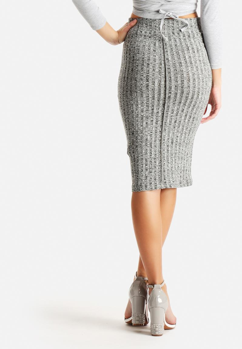 below knee skirt light grey melange noisy may