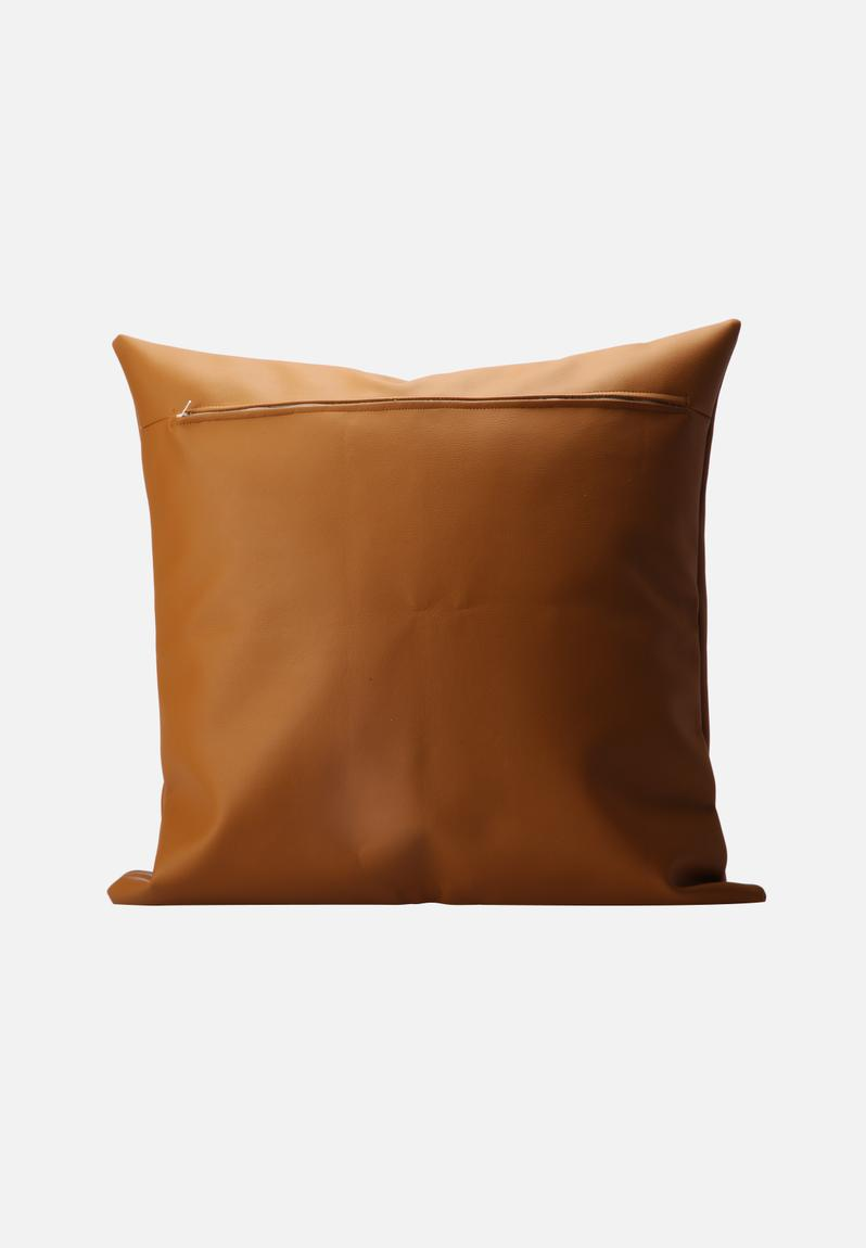 Leather cushion cover brown superbalist cushions scatter for Brown leather sofa cushion covers